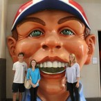 The face has become a symbol for The Health Museum. Intern Alex Daily admits it used to terrify her as a child.