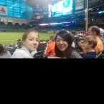 (From left) Kelly Watkins and Hina Kuroda at Minute Maid Park.