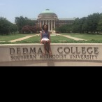Sidney Phillips in front of the Boulevard and Dedman College at Southern Methodist University in Dallas, Texas.