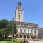 Sidney Phillips and her cousin, Aaron Pirtle, also a high school senior, making the Longhorn hand signal in front of the Tower at The University of Texas in Austin, Texas.