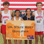 Brandon Clemmons, Luke Lewis, Khayla Patel, Leslie Romero, Nicholas Hamilton and girls cross country coach Vicki Bevan