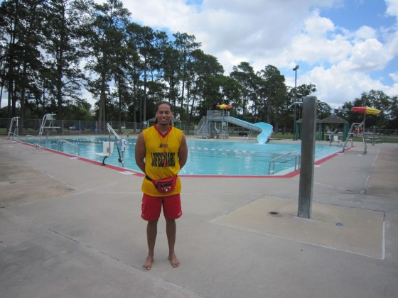 Leonard Castleberry uses his job as a lifeguard to stay in shape and become a better swimmer.