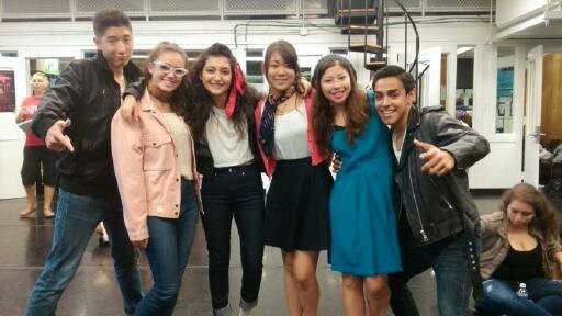 "Hip Hop eMotion Dance Company dancers dressed up for ""50's Day"" during Bellaire High School's Spirit Week. (From left): Paul Kim, Greer Blitzer, Sena Sarikaya, Hina Kuroda, Stefy Navarro, and Saul Torres."