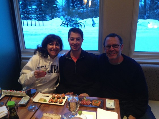 Joni, Matt and Michael Hoffman enjoyed the incredibly fresh sushi at Cosmos Happy Hour, which features 1/2 price sushi, wine and cosmos, 4:30-7 p.m. every night.
