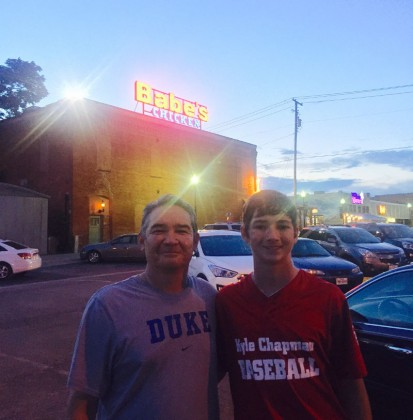 Mark and Evan Cox in front of Babe's.