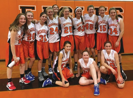 Memorial Middle School seventh-grade girls' basketball A-team