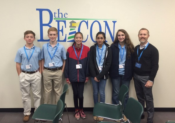 St. Mark's Episcopal School eighth graders volunteering at The Beacon