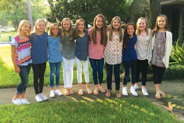 Bailey Schellberg, Cate Biar, Riley McCloskey, Claire Childress, Mary Margaret Beck, Lizzie Keeling, Kate Stuyck, Amelia Nuzzo, Berkeley Keller, Riley Stitham