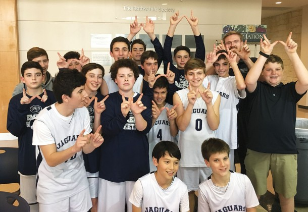The Emery/Weiner School's seventh-grade Blue basketball team