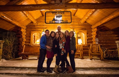 Kramer family on the front porch of their home in Telluride. (From left) fiance Michael Imiak with Rafaela, Nikki, Jackie, Isabel, Ilene and (in back) Don.