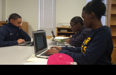 (From left) Derrick Cyprian, Mallory Davis, and Kelsey Wallace preparing for midterms.