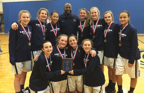 The Second Baptist School eighth-grade girls' basketball team