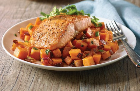 There's a little something for everyone, including sweet potato hash with salmon, at Table 57 at H-E-B.