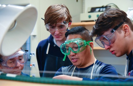 Parker Thompson, Jacob Thweatt, Dr. Tau Dang of Lamar's science department and Bruno Xavier
