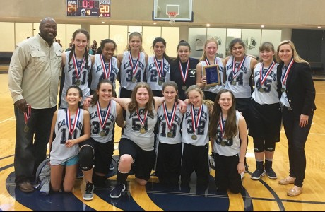 Second Baptist School eighth-grade girls basketball team