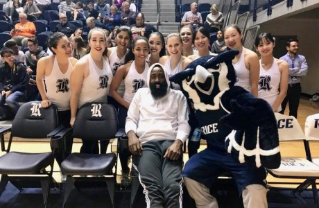 James Harden with Dance Team