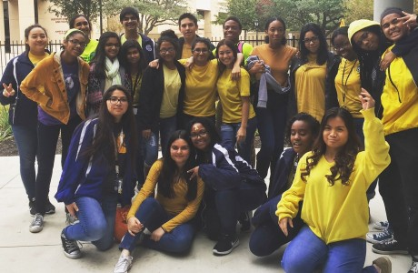 Students wearing yellow