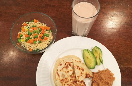 Cheese quesadillas, Ramen noodles, smoothie