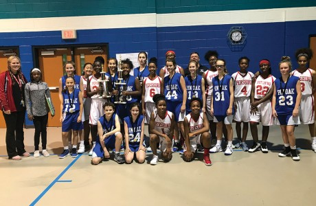 Pershing and Pin Oak basketball teams