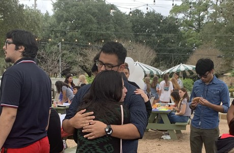 Students comfort one another