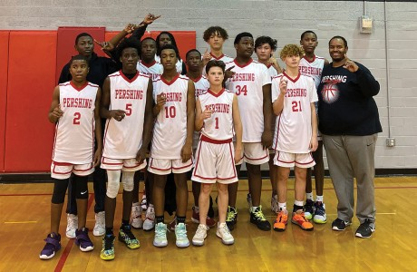 Pershing Middle School eighth-grade boys' basketball team