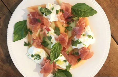 Melon, Prosciutto and Burrata with Orange Honey Vinaigrette