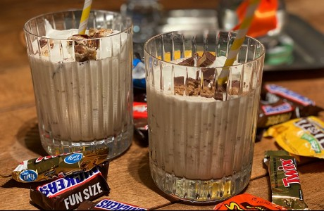 Halloween Candy Milkshakes with Marshmallow Cream