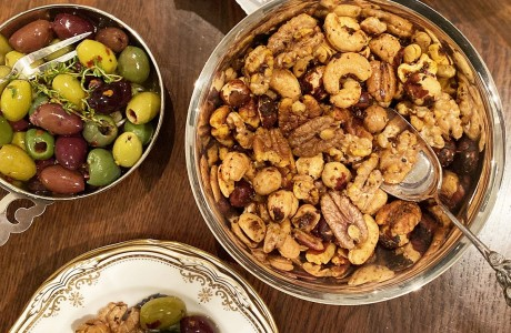 Marinated Olives and Barbecue Spiced Snack Nuts