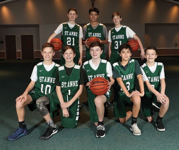 St. Anne Catholic School's men's varsity basketball team