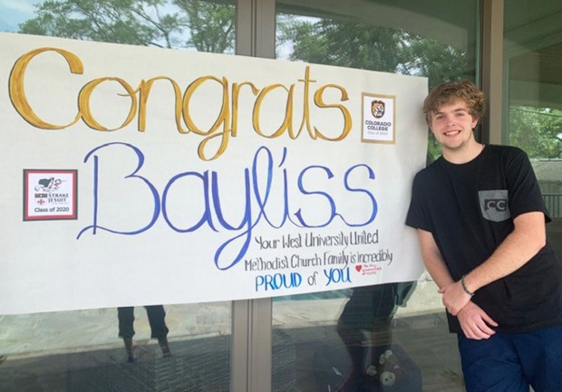 Bayliss Baker with sign