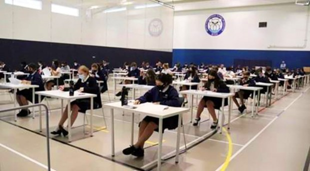 Year 11 students taking exams