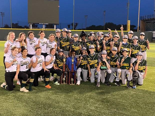 St. Vincent de Paul Catholic School's softball team and baseball team