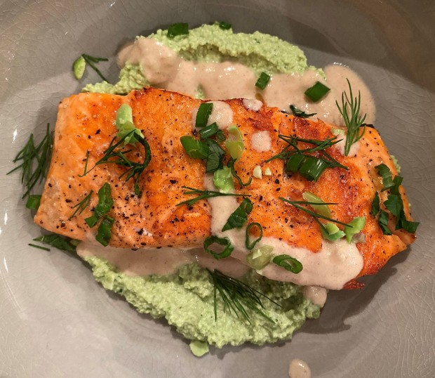 Salmon with Edamame Herb Hummus and Lemon-Tahini Sauce