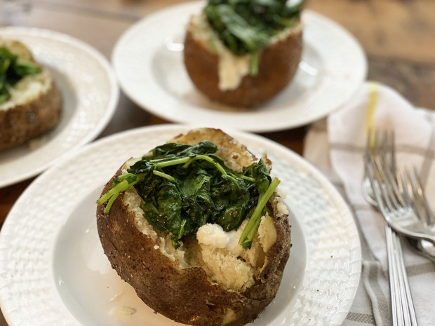 Baked Potatoes with Greens and Cheese